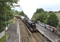 Ex-GWR 4-6-0 no 5029 <I>Nunney Castle</I> arriving at Dorchester West from Bristol on 17 July 2011 with the Railway Touring Company <I>'Weymouth Seaside Express'</I>.<br><br>[Peter Todd&nbsp;17/07/2011]