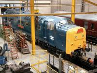 Almost there. Deltic 55002 <I>'The Kings Own Yorkshire Light Infantry'</I> nearing the end of a long restoration and refurbishment programme in the NRM workshops on 29 June 2011. A month earlier the locomotive had moved through the yard under its own power for the first time in 14 years.<br><br>[John Furnevel&nbsp;29/06/2011]