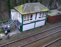 The refurbished signal box at New Mills Central on 27 January 2008. To the left is New Mills Junction and the line to the east of the <br> Pennines. To the right is New Mills Central Station and the line towards Manchester.<br> <br><br>[John McIntyre&nbsp;27/01/2008]