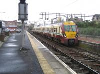 Scene at Motherwell station on 2 January 2008. Unit 334006 waits at platform 4, having recently arrived from the Hamilton side of the circle.<br><br>[John McIntyre&nbsp;02/01/2008]