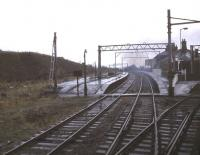Penistone station in November 1984 - looking west towards Woodhead. The tunnel was closed to rail traffic in 1981.<br><br>[Ian Dinmore&nbsp;/11/1984]