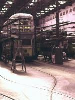About to become Glasgow's first transport museum, Coplawhill Tram Works in August 1962, just prior to the cessation of services.<br><br>[Colin Miller&nbsp;/08/1962]