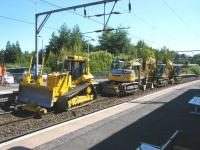 Plant line-up at Jordanhill station on 24 July 2011 during weekend track renewal work.<br><br>[Veronica Clibbery&nbsp;24/07/2011]