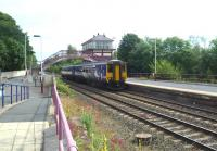 The 10.22 Newcastle - Carlisle service arrives at Haltwhistle at 11.17 on 26 July 2011.<br><br>[Bruce McCartney&nbsp;26/07/2011]