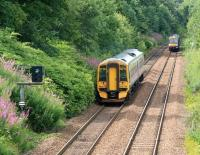Scene amongst the summer greenery 50 yards west of Grahamston station on 25 July as the departing 13.31 Edinburgh - Dunblane service meets the incoming 13.21 Glasgow Queen Street - Falkirk Grahamston. <br><br>[John Furnevel&nbsp;25/07/2011]