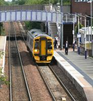 A Dunblane service arrives at Falkirk Grahamston platform 2 on 25 July 2011. The train is the 13.31 ex-Waverley, due into Dunblane at 14.35.  <br><br>[John Furnevel&nbsp;25/07/2011]