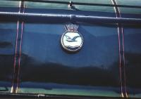 The crest carried on the boiler casing of A4 Pacific <I>Merlin</I>, latterly no 60027, photographed at Haymarket shed on 4 July 1959. The crest was presented by the Royal Naval Air Station at Donibristle, Fife (then named <I>HMS Merlin</I>) during a ceremony at the base in 1946 [see image 32608].<br> <br><br>[A Snapper (Courtesy Bruce McCartney)&nbsp;04/07/1959]