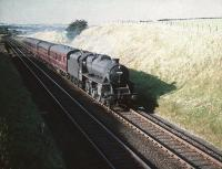 Black 5 no 44727 with an up passenger train south of Lugton on 28 August 1959.<br><br>[A Snapper (Courtesy Bruce McCartney)&nbsp;28/08/1959]
