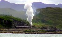 The returning 'Jacobite' pulls away from Mallaig on 28 July with 45231 in charge. Taken from my luxury yacht - well, MV 'Lochnevis' of Calmac returning from Eigg.<br><br>[Colin Miller&nbsp;28/07/2011]
