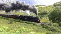 Black 5 no 44871 loses her footing briefly on the climb out of Glenfinnan on 27 July with the afternoon train to Mallaig.<br><br>[Colin Miller&nbsp;27/07/2011]