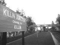 View east from a lonely Killin Junction station at Easter 1966, with the branch platform to the left. Everything appeared untouched since the departure of the last train on 27th September the previous year.<br> <br><br>[David Spaven&nbsp;//1966]
