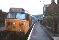 A class 50 with a 3-coach train stops at Eggesford, on the Barnstaple line during a DMU shortage in August 1990.<br><br>[Ian Dinmore&nbsp;03/08/1990]