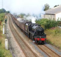 LMS Black 5 no 44932 heads east from Preston on the approach to <br> Lostock Hall with <I>The Fellsman</I> tour to Carlisle on 3 August 2011.<br> <br><br>[John McIntyre&nbsp;03/08/2011]