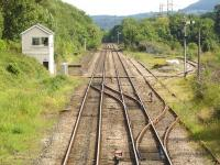 Extensive trackwork, points and lower quadrant signals to main line and up & down sidings immediately south of Abergavenny Station in July 2011. The signal box has had its moments... [see image 32284] <br><br>[David Pesterfield&nbsp;14/07/2011]
