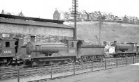 Ex-North British 0-6-0s lined up in the shed yard at Hawick in the summer of 1958. Left to right are J36 nos 65316 and 65317 together with with J35 no 64494.<br><br>[K A Gray&nbsp;//1958]
