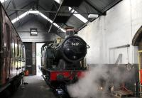 Ex-GWR 0-6-2T no 5637 being steamed for its annual boiler examination in the locomotive shed at Cranmore on the East Somerset Railway on 3 August 2011. <br> <br><br>[Peter Todd&nbsp;03/08/2011]
