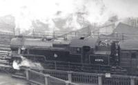 Fairburn 2-6-4T no 42073 seen from the Castle Keep, shortly after leaving Newcastle Central, as it takes a train onto the High Level Bridge. The photograph is thought to date from the late 1950s.<br> <br><br>[John Alexander&nbsp;//]