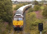 DRS class 47 no 47790 <i>Galloway Princess</i> leads the 'Northern Belle' round Inverkeithing North/East chord on 7 August 2011.<br> <br><br>[Bill Roberton&nbsp;07/08/2011]