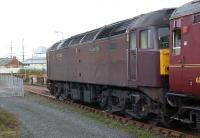 WCRC Class 47 no 47786 <I>Roy Castle OBE</I> in the sidings west of Dundee station with railtour stock on 15 April 2011. In the left background are the masts of the RRS 'Discovery'.<br><br>[John McIntyre&nbsp;15/04/2011]