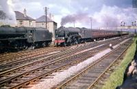 A2 Pacific no 60531 <I>Bahram</I> passes Black 5 no 44796 as it takes an Aberdeen bound train through Saughton Junction in July 1959.<br><br>[A Snapper (Courtesy Bruce McCartney)&nbsp;18/07/1959]