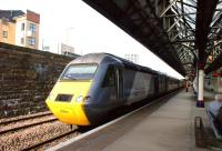 An 'East Coast' HST service departs from platform 4 at Dundee on 15 April 2011 heading for Aberdeen.<br><br>[John McIntyre&nbsp;15/04/2011]