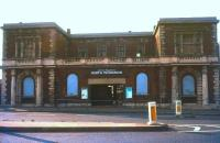 The rundown and neglected Eastern Counties North Woolwich terminus of 1847 seen looking north west across Pier Road in 1978. Happily, the building was subsequently restored to its former glory [see image 30650].  <br><br>[Ian Dinmore&nbsp;//1978]