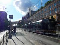 A tram passes Stockholm's famous department store NK on Hamngatan on a beautiful late afternoon in July.<br><br>[Beth Crawford&nbsp;24/07/2011]