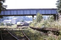 View west showing platforms and sidings at Cameron Bridge in July 1991. Looking towards the distillery, with C02 tanks and other rail traffic visible in the background.<br><br>[Ian Dinmore&nbsp;/07/1991]