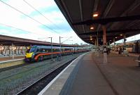 A Grand Central service from the south draws into platform 9 at York.<br><br>[Beth Crawford&nbsp;13/06/2011]