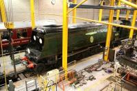 Bulleid 'Battle of Britain' Pacific no 34051 <I>Winston Churchill</I> receives attention in the NRM workshops at York on 29 June 2011. The locomotive is part of the national collection.<br><br>[John Furnevel&nbsp;29/06/2011]