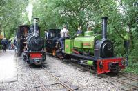 Scene on the West Lancashire Light Railway on 13 August 2011. O&K No 22 <I>'Montalban'</I> waits to depart from Delph, while O&K No 21 <I>'Utrilas'</I> and Hunslet <I>'Jack Lane'</I> await their next duties in the loop.<br><br>[John McIntyre&nbsp;13/08/2011]