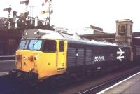 50023 <I>'Howe'</I> brings a train into Exeter St Davids in 1985.<br><br>[Ian Dinmore&nbsp;//1985]