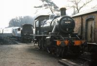 Ivatt class 2MT 2-6-0 no 46443 appears to have come undone at Bridgnorth in the spring of 1974.<br><br>[Colin Miller&nbsp;//1974]