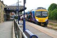 The 15.12 Scarborough - Liverpool Lime Street TransPennine service calls at Malton on 29 June 2011.<br><br>[John Furnevel&nbsp;29/06/2011]