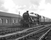 Beautifully turned out Jubilee no 45562 <I>Alberta</I> arriving at Carlisle on 7 October 1967 with the Jubilee Railway Society <I>'South Yorkshireman No 7'</I> rail tour from Bradford Exchange.<br><br>[K A Gray&nbsp;07/10/1967]