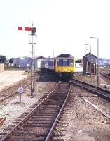 A St Ives train arrives at St Erth in August 1995 formed by a class 108 DMU.<br><br>[Ian Dinmore&nbsp;/08/1995]