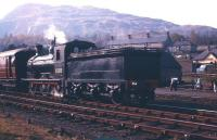 J36 0-6-0 no 65315 stands at Aberfoyle on 3 May 1958 with the SLS <I>Strathendrick Special</I> from Glasgow Queen Street. The train will depart shortly on the journey back to Glasgow, where it will terminate at St Enoch. <br><br>[A Snapper (Courtesy Bruce McCartney)&nbsp;03/05/1958]
