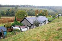View north west along the Tweed Valley at Thornielee towards Peebles on 7 October 2005. In the foreground is the former Thornielee station, closed in November 1950 and now a private residence.<br><br>[John Furnevel&nbsp;07/10/2005]