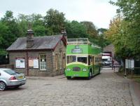 The Worth Valley Railway runs timetabled vintage bus services as well as trains. This former <I>Southdown</I> open topper on Oxenhope forecourt has connected with a train on 18 August and will now take the moorland road to Haworth's Main Street, then the station and on to Ingrow. <br><br>[Mark Bartlett&nbsp;18/08/2011]