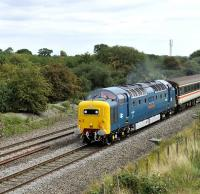 55022 <I>Royal Scots Grey</I> with a GBRf charter at speed near Shrivenham on 20 August.  <br><br>[Peter Todd&nbsp;20/08/2011]