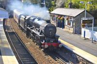 The second circuit of the day for the SRPS <I>Forth Circle</I> railtour, seen entering Aberdour station on 21 August with 45231 at the helm.<br><br>[Bill Roberton 21/08/2011]
