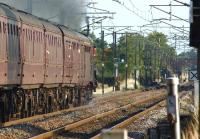 Heading south along the WCML under clear signals on 22 August 2011, Black 5 no 45305 approaches the site of Brock station with the return leg of <I>The Mersey Moorlander</I> railtour from Carlisle to Liverpool and Crewe.<br><br>[John McIntyre&nbsp;22/08/2011]
