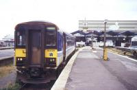 Platform scene at Cleethorpes on the afternoon of 12 August 1995 with a class 153 railcar about to leave on a Saturdays only service to Barton-on-Humber.<br><br>[Ian Dinmore&nbsp;12/08/1995]
