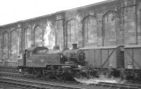 Ivatt 2-6-2T no 41222 is station pilot at Carlisle on 14 August 1965, seen here shunting the sidings on the west side of the station. [This push-pull fitted locomotive had arrived at Upperby shed around 6 months earlier, having been used on the Newport Pagnell branch until its closure the previous year.]<br><br>[K A Gray&nbsp;14/08/1965]