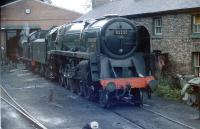 Class 9F 2-10-0 no 92220 <I>Evening Star</I> rests at Grosmont MPD in front of the now-demolished cottages in July 1986.<br><br>[Colin Miller&nbsp;/07/1986]