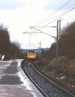 A train approaching Alvechurch on a cold March day in 1993 with a Redditch - Birmingham - Lichfield Trent Valley service. <br><br>[Ian Dinmore&nbsp;12/03/1993]
