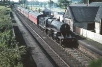 Crab 2-6-0 no 42809 with a Glasgow bound passenger train running north through the closed Lochside station in August 1959. Reopened in 1966, this is the present day Lochwinnoch station (name changed in 1985).<br><br>[A Snapper (Courtesy Bruce McCartney)&nbsp;28/08/1959]