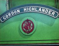 Nameplate and crest carried by ex-Great North of Scotland Railway 4-4-0 No 49 <I>Gordon Highlander</I>.<br><br>[A Snapper (Courtesy Bruce McCartney)&nbsp;//1959]