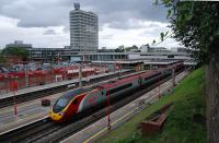 A view east over Coventry station. [See image 18520] for the same view in 1983.<br><br>[Ewan Crawford&nbsp;05/09/2011]