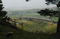 Possibly the only photograph on this site featuring a Pendolino and a large mushroom (left). A southbound service passes a wooded glade and approaches Crawford in the drizzle.<br><br>[Ewan Crawford&nbsp;06/09/2011]